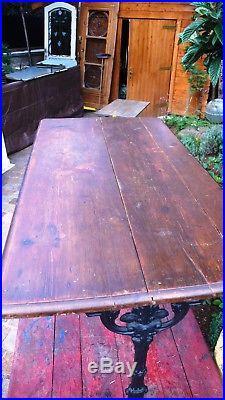 Meuble Métier Vintage Table Bistrot Piétement Fonte Galbée Fleurie 1900