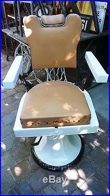 Meuble de Métier Vintage Siège Chaise Fauteuil de Barbier Fonte émaillée 1950