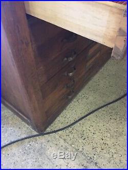 Meuble de Métier ancien en bois, 14 tiroirs, Chêne Plans Graveur Îlot Comptoir
