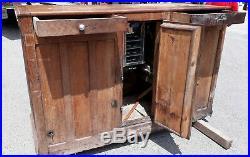 Meuble de Métier ancien frigo en bois bistro bar boucherie 3 portes 2 tiroirs