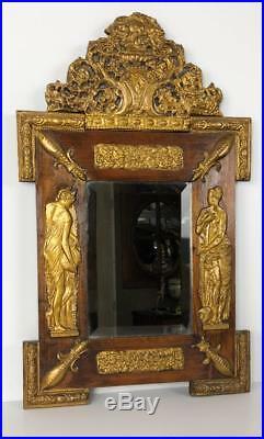 Miroir Ancien Avec Son Fronton En Bois Ornée De Plaque De Cuivre Style Empire