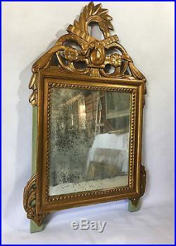 Miroir Ancien En Bois Redoré De Style Louis XVI Avec Glace Au Mercure