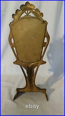 Miroir Art Nouveau en régule doré