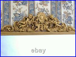 Miroir Cheminée Mural Avec Anges Dore Ancien Angelots Pour Palais D'un Chteau