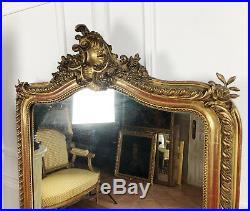 Miroir D'époque Napoléon 3 En Bois Et Stuc Doré De Style Louis XV De 162cm De H