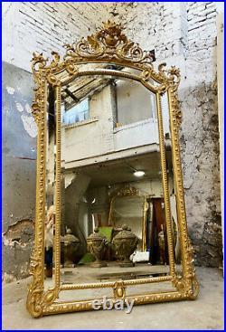Miroir De Cheminée À Parecloses D'époque Napoléon III En Bois Doré Décor Chimère