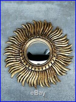 Miroir bombe sorcière soleil bois doré