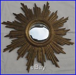 Miroir soleil convexe résine dorée 70 cm de diamètre