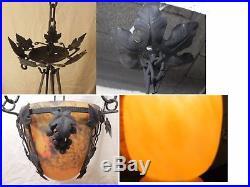 Mulaty lustre suspension fer forge pate de verre 1920, LAMPE tulipe, no muller