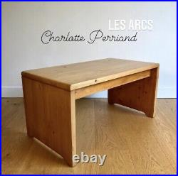 PERRIAND Charlotte Design LES ARCS RARE Table Basse BANC 1960 Vintage Pin Massif