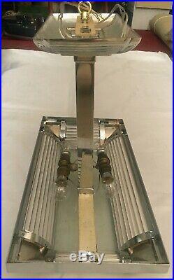 PETITOT Lustre Plafonnier Art Déco authentique, signé, excellent, signed chandelier