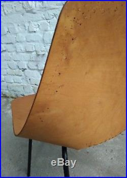 PIERRE GUARICHE TONNEAU CHAIR CHAISE STEINER FRANCE 1950-60s BOIS WOOD