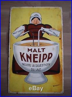 PLAQUE EMAILLE MALT KNEIPP BEUVILLE ED JEAN 1920 PUBLICITE CHOCOLAT 80cm ANCIENN