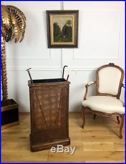 PORTE PARAPLUIES ET CANNES ANCIEN DU 19e EN BOIS ET CANNAGE DE STYLE LOUIS XVI