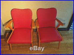 Paire 2 Fauteuil-vintage-bois-skaï Rouge-design 50-1950-60