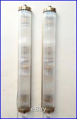 Paire Ancien Old Art Deco Laiton & Glass Rod Lumiere Appliques murale Lampe