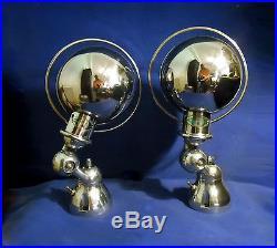Paire Appliques Lampe Jielde Ancienne Polie Miroir