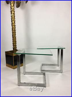 Paire De Bouts De Canapé / Tables Guéridons En Verre Et Inox Des Années 70 80