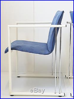 Paire De Chaises Fauteuils Design Annees 80 Vintage Metal Laque Tissu Bleu 80's