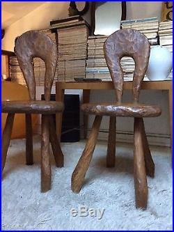 Paire De Chaises Sculpture Design Français 50 60
