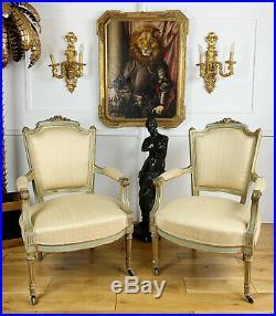 Paire De Fauteuils D'époque Napoléon III En Bois Peint De Style Louis XVI