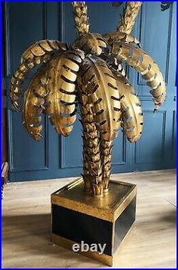 Paire De Lampadaires Palmier Triple De Style Jansen Annees 70 en métal doré