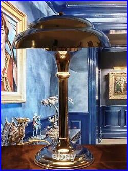 Paire De Lampe Métal Chromée Abat-jour Champignons Vintage