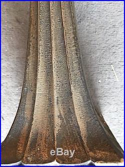 Paire De Suspension Art Deco Bronze Verre Pressé 1930