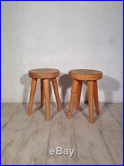 Paire De Tabourets Perriand Les Arcs Stools Vintage Midcentury