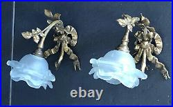 Paire dappliques bronze Style Louis XVI Feuilles et Noeud de Ruban