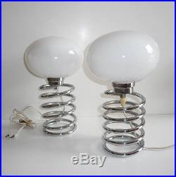 Paire de Lampe Ressort Ingo Maurer Vintage petit modèle chevet An 70's