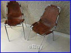 Paire de chaises charlotte perriand les arcs en cuir chairs
