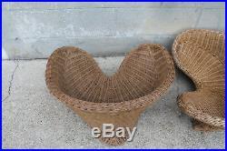 Paire de fauteuils boho chic 1970 ancien meditation moelle de rotin