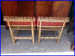 Paire de fauteuils chauffeuses en rotin vintage 1950/60