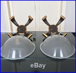 Paire de lampes Art Déco en bronze et verre dépoli Salon Applique Colonne