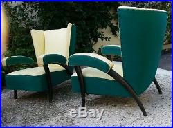 Paire fauteuils 50's italie P. Buffa. Mollino era