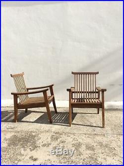 Paire fauteuils années 50 chêne, dlg Dariel, Rene Gabriel