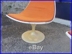 Paire fauteuils chauffeuses design vintage 70 pied tulipe
