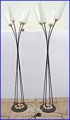 Paire lampadaires modernistes design Stellor 1950 époque Lunel Stilnovo Arlus