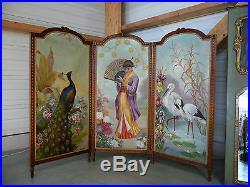 Paravent ancien huile peinture louis XVI 20 ème panneaux painting screen canvas