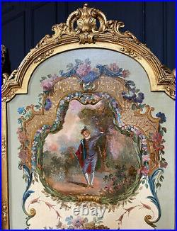 Paravent époque Napoléon III En Bois Doré à Décor De 3 Scènes de Style Louis XVI