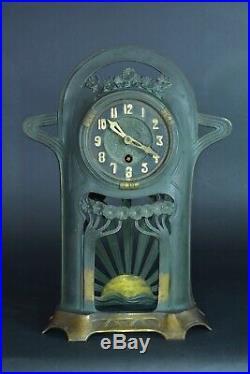 Pendule art nouveau Lenzkirch Guimard Majorelle Bronze Soleil ginkgo Bil. Clock