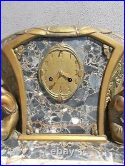 Pendule horloge lampe sculpture art deco LIMOUSIN statue femme pendulum clock