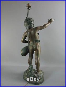 Pied de lampe régule patiné Auguste Moreau Art Nouveau Patine H 65 cm