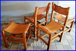 Pierre Chapo deux chaises et deux tabourets ou repose pied en orme et cuir 1960