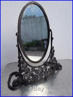 Psyché miroir fer forgé décor stylisé Attribué à Edgar Brandt vers 1930