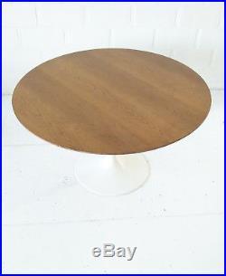RARE 91cm x 51h 1970s ROUND KNOLL EERO SAARINEN TULIP SIDE TABLE GUERIDON BOIS
