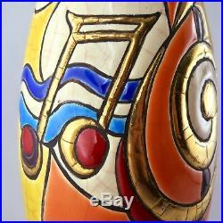 RARE Vase CONCERTO Faïence ÉMAUX de LONGWY C. DIDIER Céramique Art/primavera