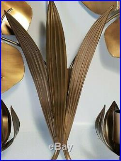 RARE et superbe paire d'appliques nénuphar en laiton style jansen
