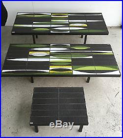 R CAPRON Serie de 3 TABLES Basses Ceramique VALLAURIS Signe Modele NAVETTES Vert